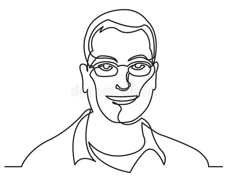 Fortlöpande linje teckning av att le mannen i exponeringsglas på vit bakgrund royaltyfri illustrationer