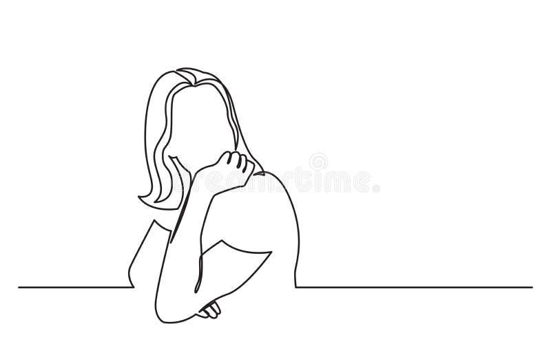 Fortlöpande linje teckning av att sitta den unga kvinnan i drömlikt lynne royaltyfri illustrationer