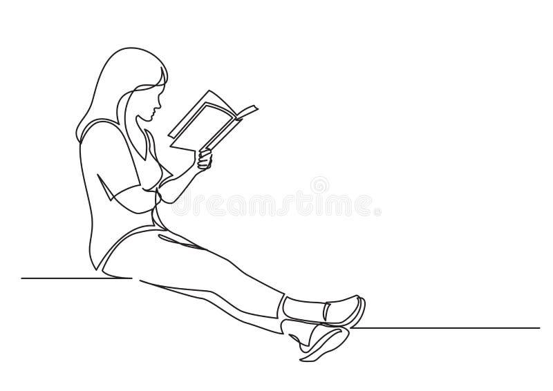 Fortlöpande linje teckning av att sitta koncentrerad kvinnaläsning som intresserar boken royaltyfri illustrationer