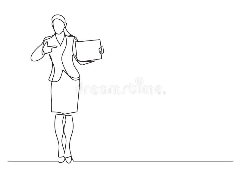 Fortlöpande linje teckning av att stå den kvinnliga kontorsarbetaren som pekar på det tomma tecknet royaltyfri illustrationer