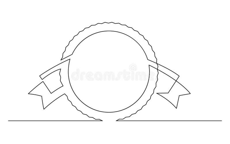 Fortlöpande linje teckning av cirkel- och bandetiketten stock illustrationer