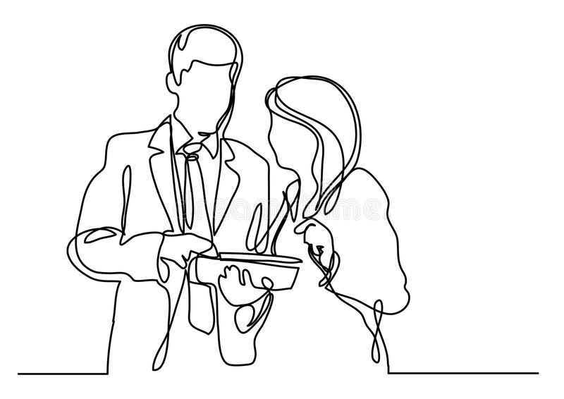 Fortlöpande linje teckning av cowokers som diskuterar vektor illustrationer