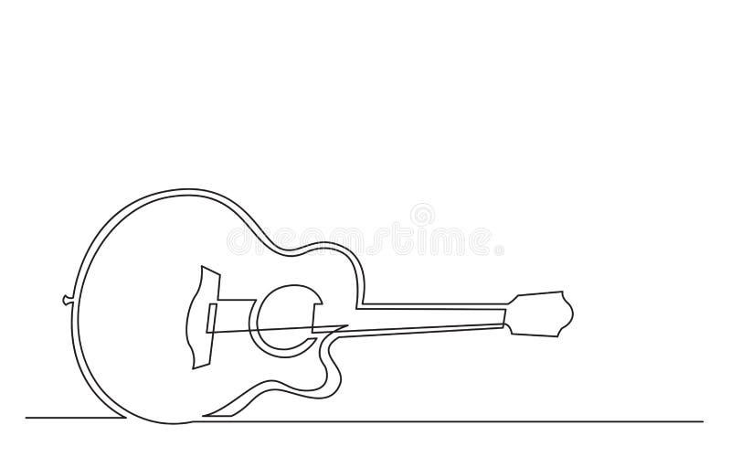 Fortlöpande linje teckning av den akustiska gitarren för stålrad stock illustrationer