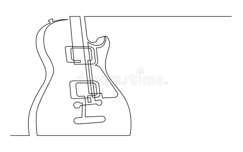 Fortlöpande linje teckning av den elektriska gitarren med två humbuckers royaltyfri illustrationer