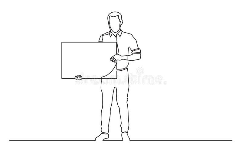 Fortlöpande linje teckning av den fulla längdanseendemannen som rymmer det tomma tecknet royaltyfri illustrationer