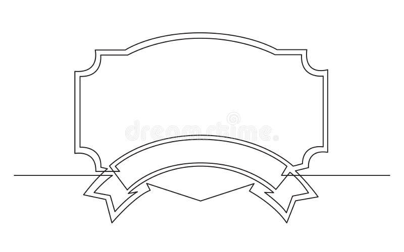 Fortlöpande linje teckning av den geometriska ramdesignen för band stock illustrationer