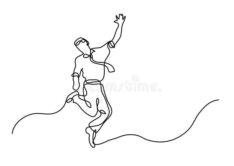 Fortlöpande linje teckning av den gladlynta banhoppningaffärsmannen royaltyfri illustrationer