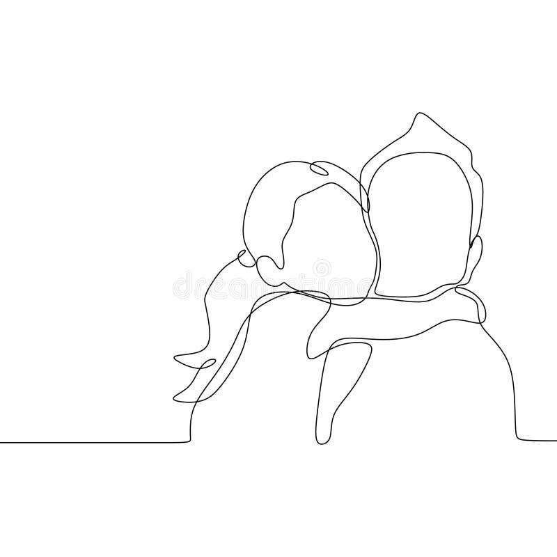 Fortlöpande linje teckning av den gulliga dottern och hans fader Stil för minimalism för familjtidbegrepp vektor illustrationer
