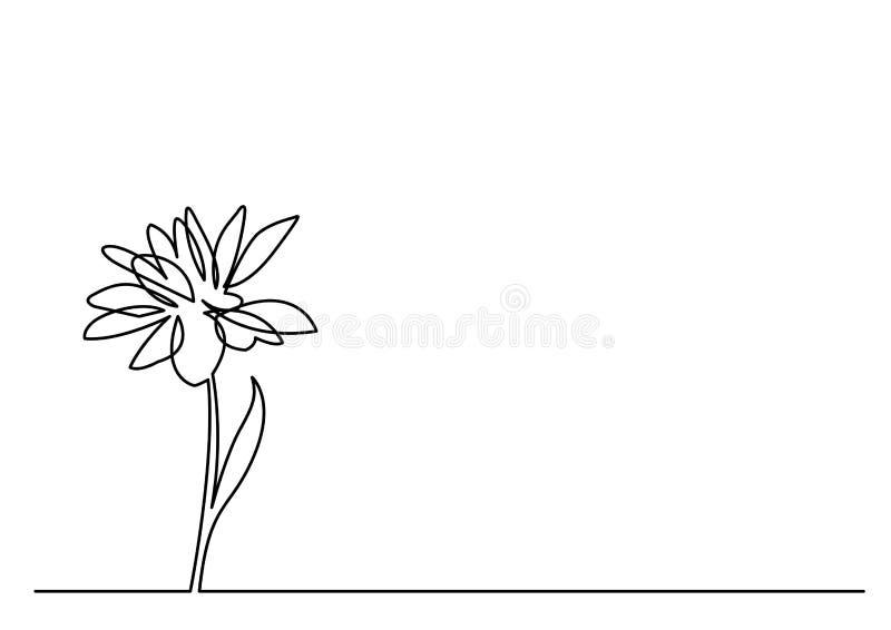 Fortlöpande linje teckning av den härliga blomman vektor illustrationer