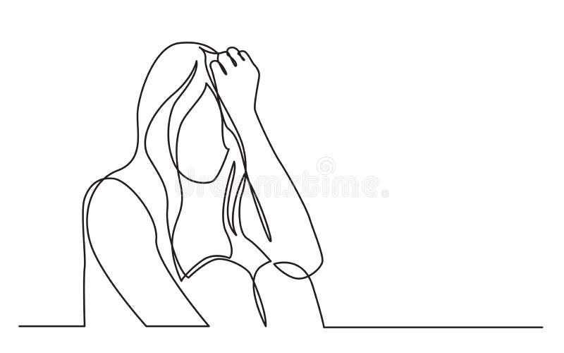 Fortlöpande linje teckning av den hemfallna kvinnan i förtvivlan stock illustrationer