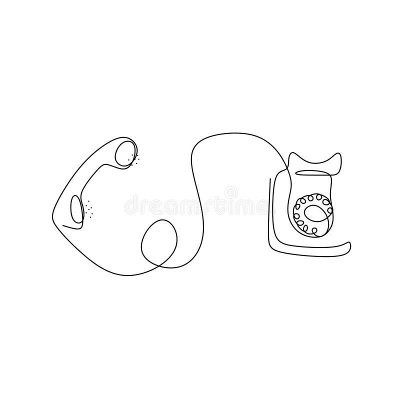 Fortlöpande linje teckning av den klassiska tappningtelefonen royaltyfri illustrationer