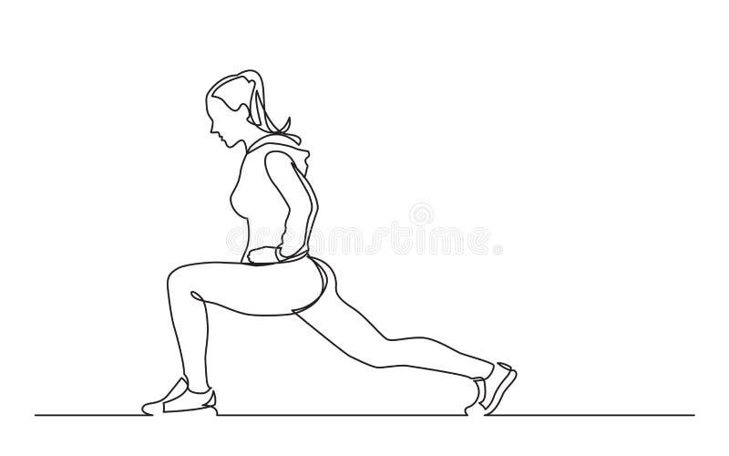 Fortlöpande linje teckning av den kvinnliga idrottsman nen som sträcker ben vektor illustrationer