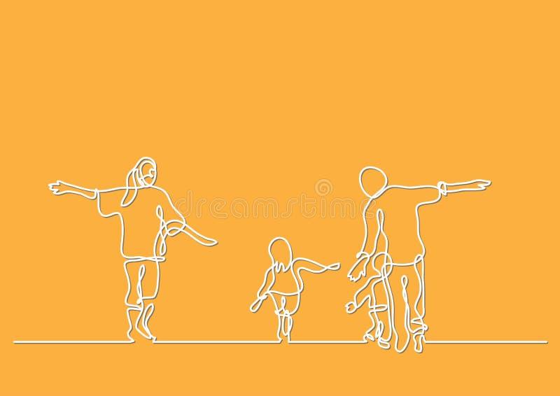 Fortlöpande linje teckning av den lyckliga familjen som har gyckel royaltyfri illustrationer