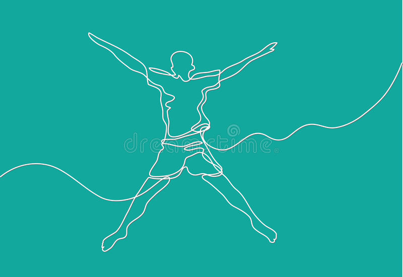 Fortlöpande linje teckning av den lyckliga grabben vektor illustrationer