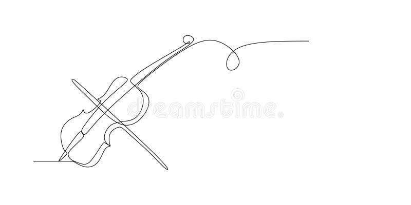 fortlöpande linje teckning av den minimalist designen för fiol vektor illustrationer