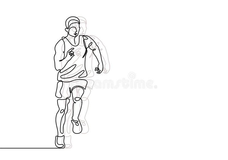 Fortlöpande linje teckning av den minimalist designen för löpare Person som gör övningssportkörningen för sund kropppassform royaltyfri illustrationer