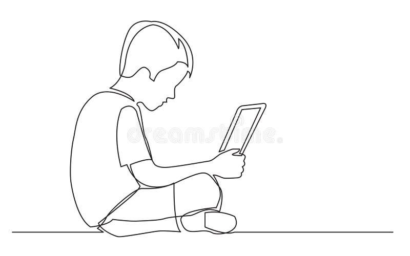 Fortlöpande linje teckning av den sittande hållande ögonen på bärbar datordatoren för pojke stock illustrationer