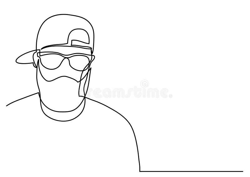 Fortlöpande linje teckning av den skäggiga mannen i lock stock illustrationer