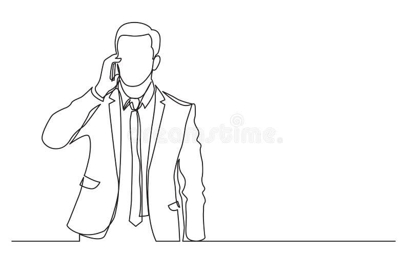 Fortlöpande linje teckning av den stående affärsmannen som talar på hans telefon stock illustrationer