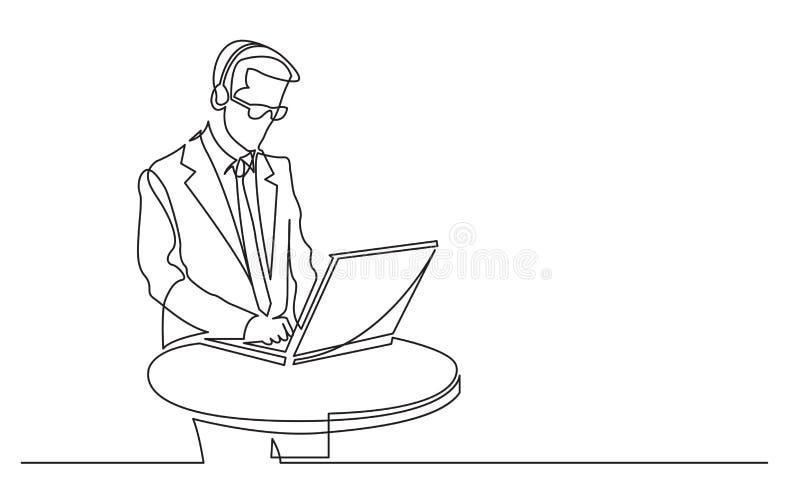 Fortlöpande linje teckning av den stående arbetaren för appellmitt med bärbar datordatoren royaltyfri illustrationer