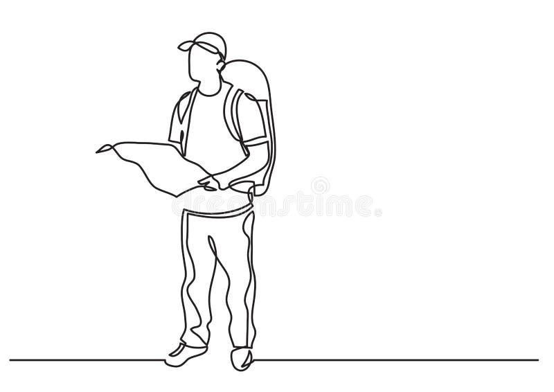 Fortlöpande linje teckning av den stående handelsresanden med ryggsäckinnehavöversikten stock illustrationer