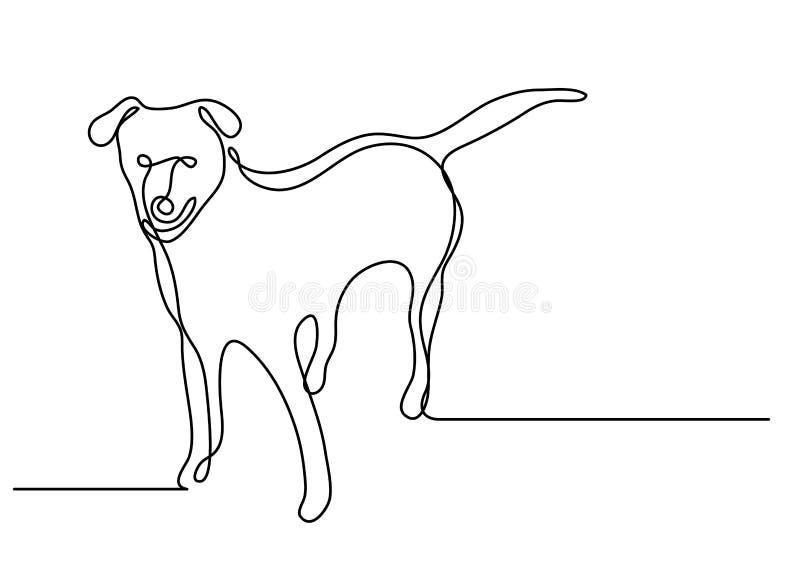 Fortlöpande linje teckning av den stående hunden vektor illustrationer