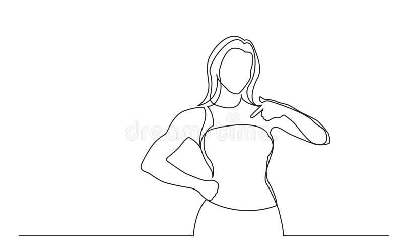 Fortlöpande linje teckning av den stående kvinnan som pekar på henne royaltyfri illustrationer