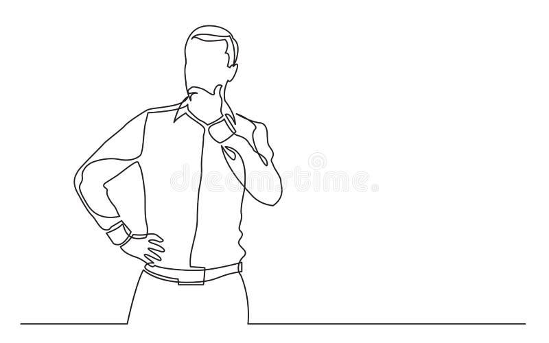 Fortlöpande linje teckning av den stående mannen angående royaltyfri illustrationer