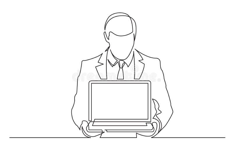Fortlöpande linje teckning av den stående mannen i dräktvisning-bärbar dator dator royaltyfri illustrationer