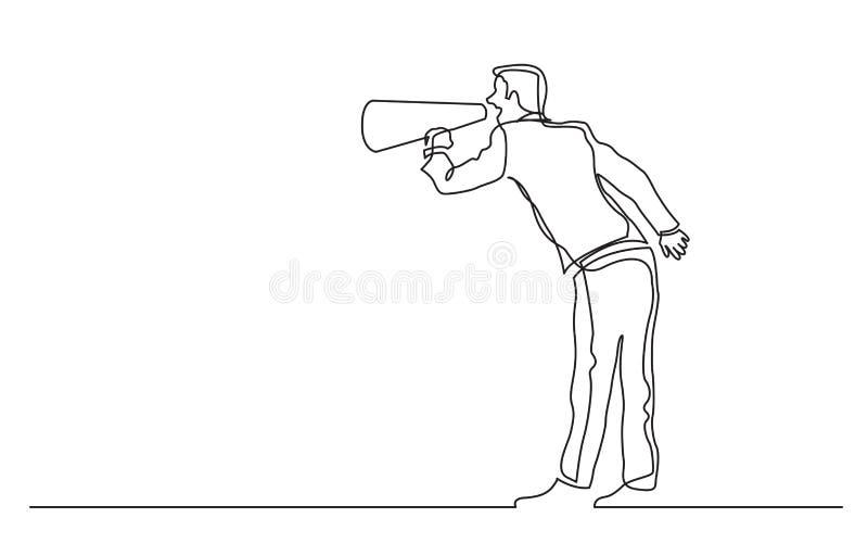 Fortlöpande linje teckning av den stående mannen som ropar i megafon royaltyfri illustrationer