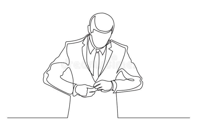 Fortlöpande linje teckning av den stående mannen som testar den nya dräkten royaltyfri illustrationer