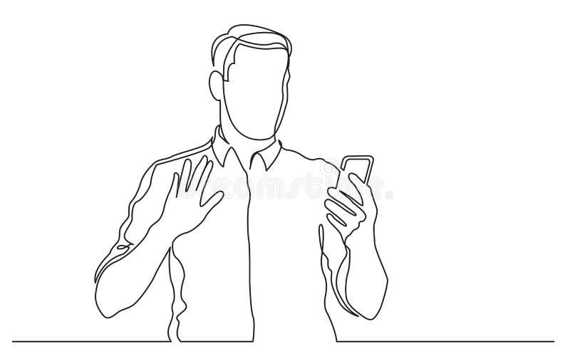 Fortlöpande linje teckning av den stående mannen som vinkar till hans mobiltelefon royaltyfri illustrationer