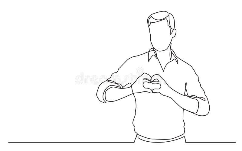 Fortlöpande linje teckning av den stående mannen som visar förälskelsetecknet royaltyfri illustrationer
