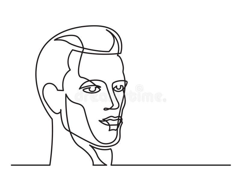 Fortlöpande linje teckning av den stiliga mannen på vit bakgrund royaltyfri illustrationer