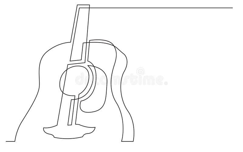Fortlöpande linje teckning av den stora akustiska gitarren vektor illustrationer