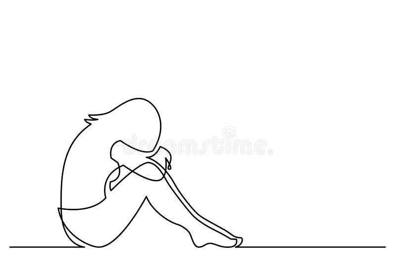 Fortlöpande linje teckning av deprimerat kvinnasammanträde vektor illustrationer