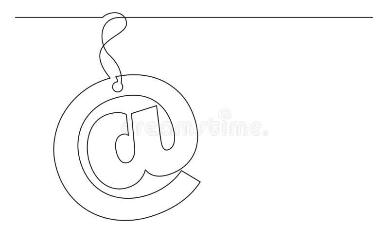 Fortlöpande linje teckning av emailteckenetiketten stock illustrationer