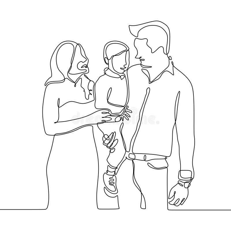 Fortlöpande linje teckning av en familjemedlem Fader, mamma och deras unge stock illustrationer