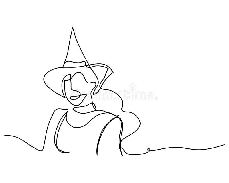 Fortlöpande linje teckning av en härlig kvinnahäxaallhelgonaafton linjär stil och hand drog vektorillustrationer, nolla för tecke stock illustrationer