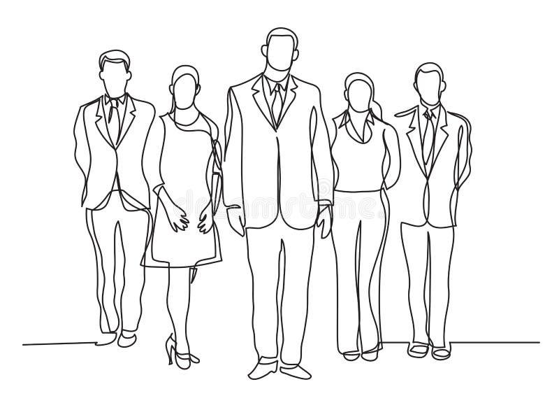 Fortlöpande linje teckning av fem stående affärsprofessionell royaltyfri illustrationer