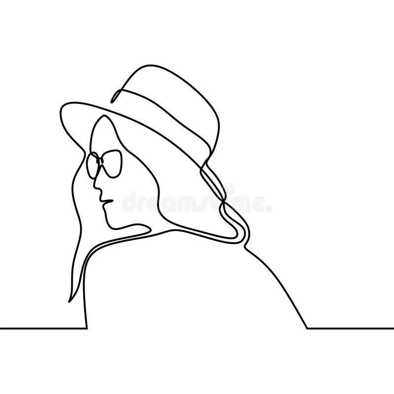 Fortlöpande linje teckning av flickan med moderiktigt för sommarhattdräkt som isoleras på den vita bakgrundsminimalismdesignen vektor illustrationer