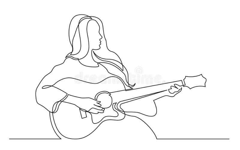 Fortlöpande linje teckning av flickan som spelar den akustiska gitarren royaltyfri illustrationer
