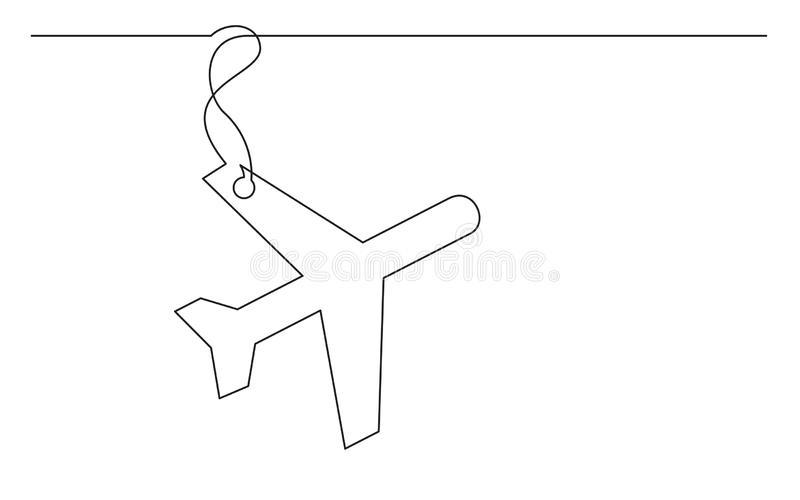 Fortlöpande linje teckning av flygplanetiketten stock illustrationer