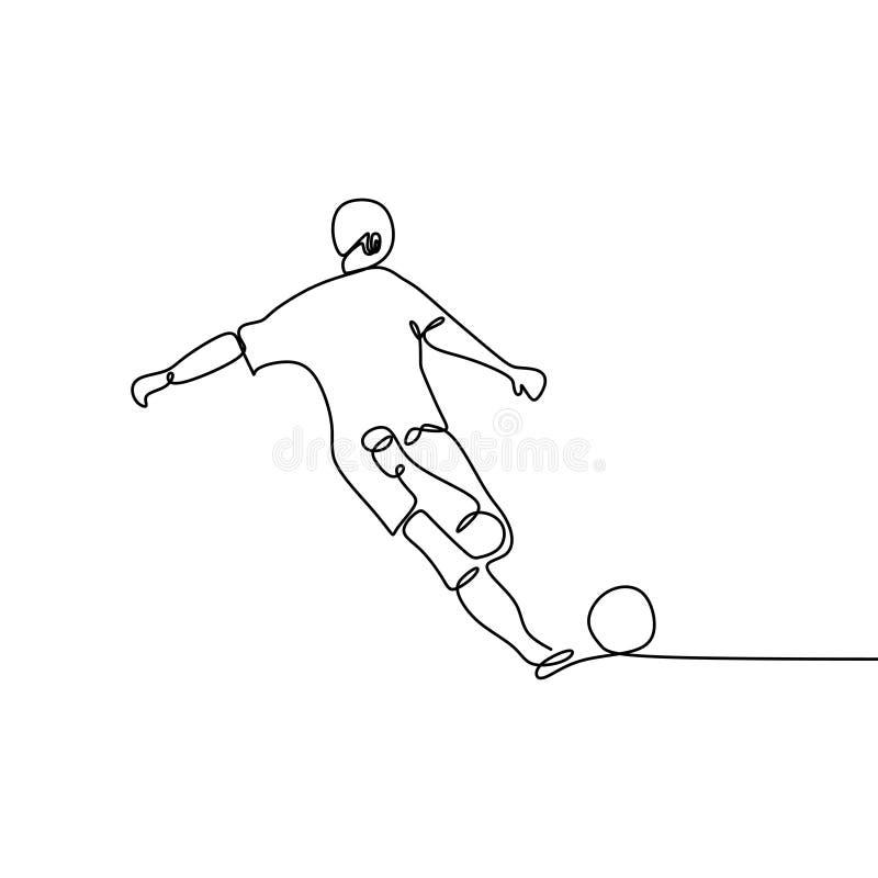 Fortlöpande linje teckning av fotbollsspelaresparkbollen stock illustrationer