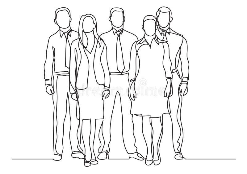 Fortlöpande linje teckning av fyra affärsprofessionell som står säkra royaltyfri illustrationer