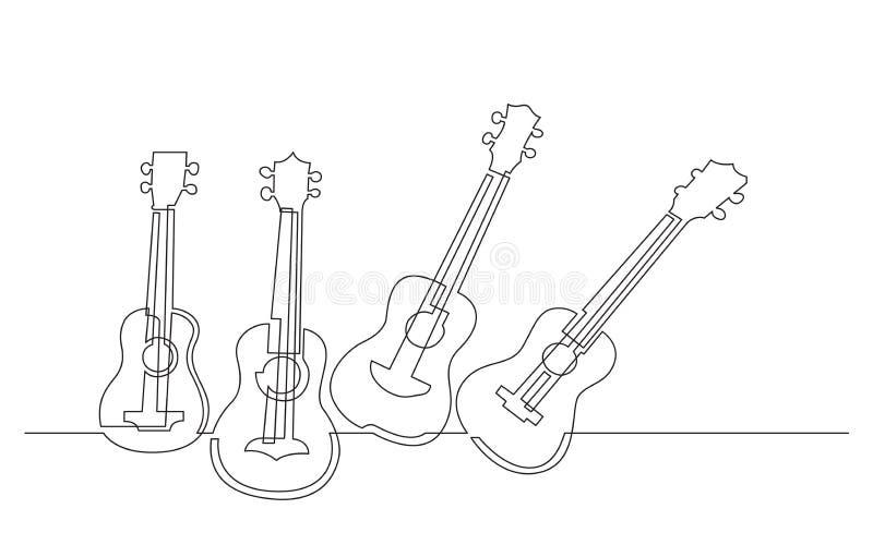 Fortlöpande linje teckning av fyra ukulelen stock illustrationer