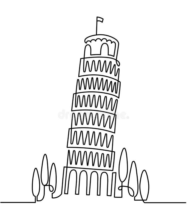 Fortlöpande linje teckning av gränsmärkePiza för vektor det italienska tornet, Italien Vektorillustration, enkelt linjärt loppbeg stock illustrationer