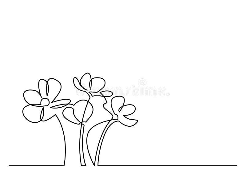 Fortlöpande linje teckning av härliga blommor royaltyfri illustrationer
