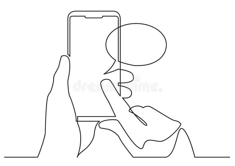 Fortlöpande linje teckning av handen genom att använda den mobila appen för socialt massmedia på den smarta telefonen stock illustrationer