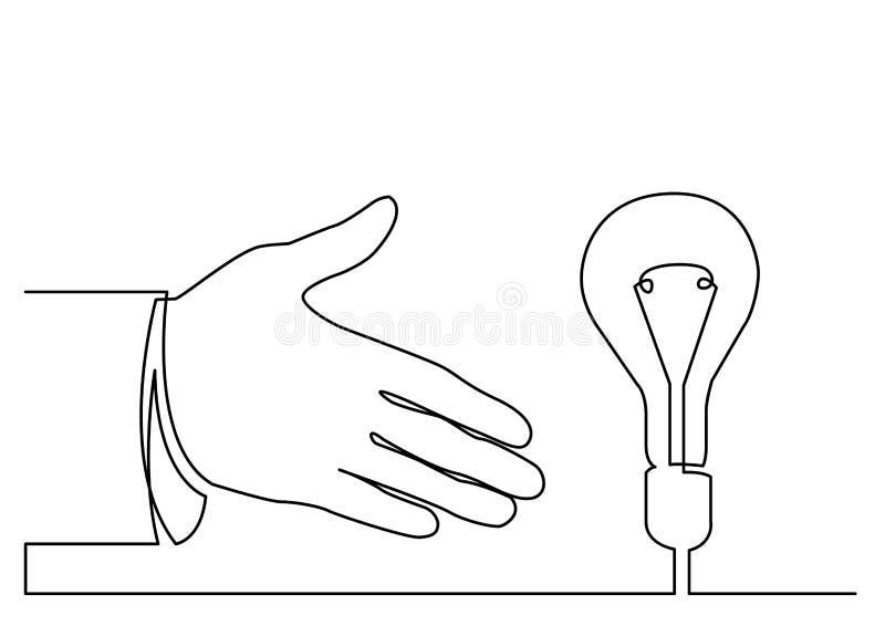 Fortlöpande linje teckning av handen som visar metap för ljus kula eller idé royaltyfri illustrationer
